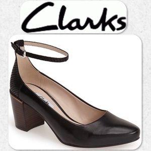 Clarks Cleaves Zest Ankle Strap Pumps